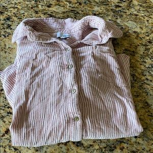 Red pink and white striped button up shirt